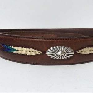 Boho Aztec Brown Waist Belt Western 32 Embellished